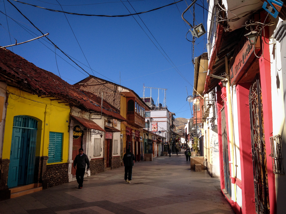 Jiron Lima, the main pedestrian walkway in Puno