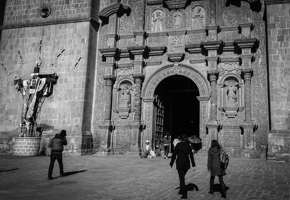 Ornate baroque entrance of the Puno Cathedral