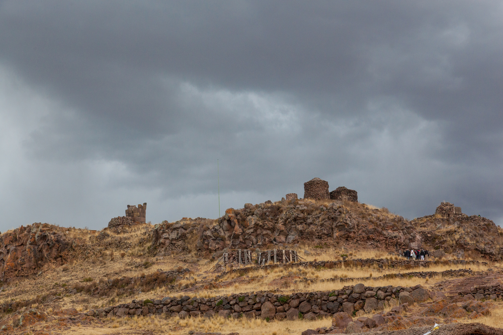 The archaeological site seen from the town of Sillustani
