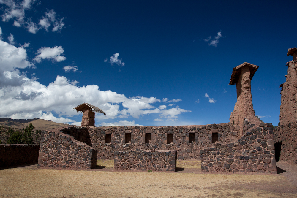 One of the buildings in the residential area.  This one did not have the taller adobe wall on top any longer, but others can be seen in the distance.