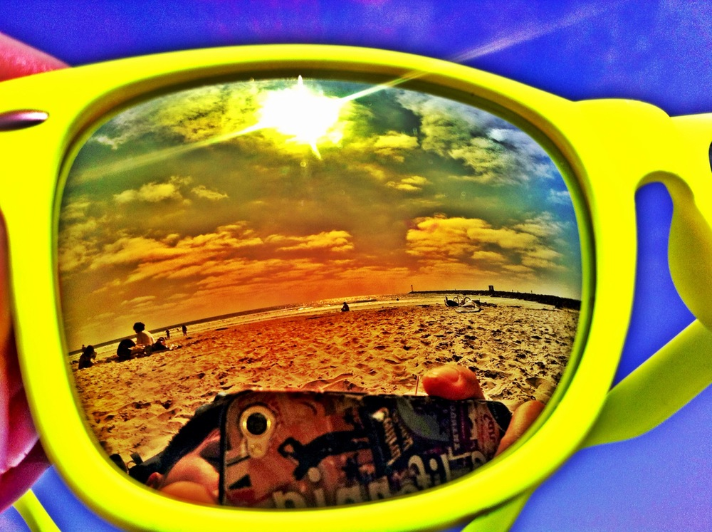 Reflection of the ocean off of my sunglasses.