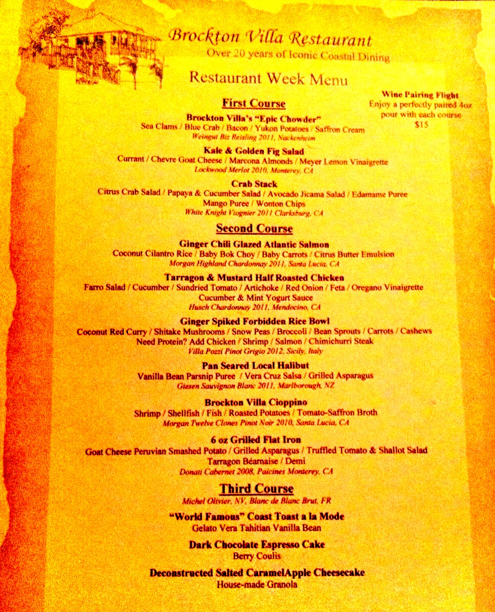 Brockton Villa Menu