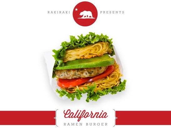 Rakiraki Ramen & Tsukemen's California Ramen Burger - via Rakiraki Facebook [ photo ]