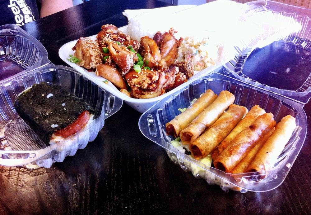 Homestyle Hawaiian Spam Musubi, Katsu Chicken and Lumpia