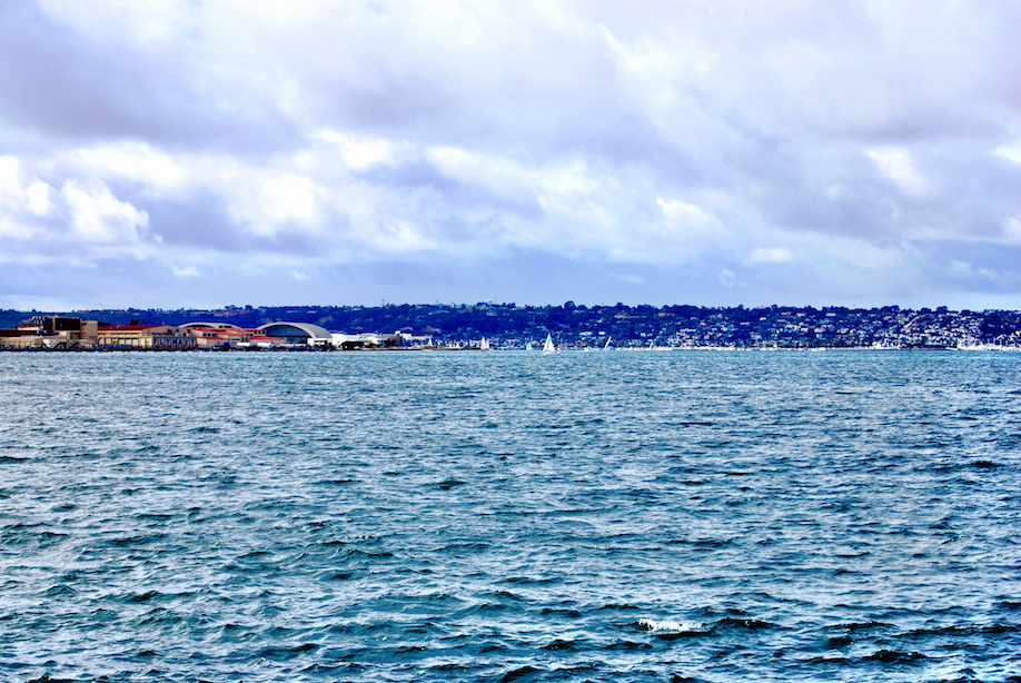 The calm gray waters of San Diego bay.