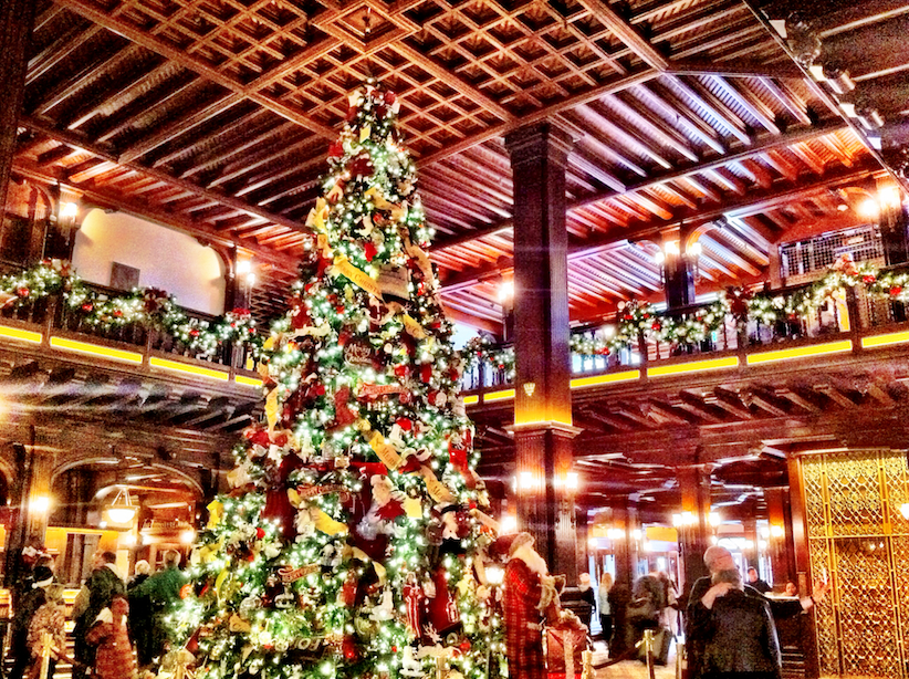 ..and here is the lobby of the Hotel del Coronado. The Christmas tree brought the largest smile to the crowd's face. We just had to snap a photo.