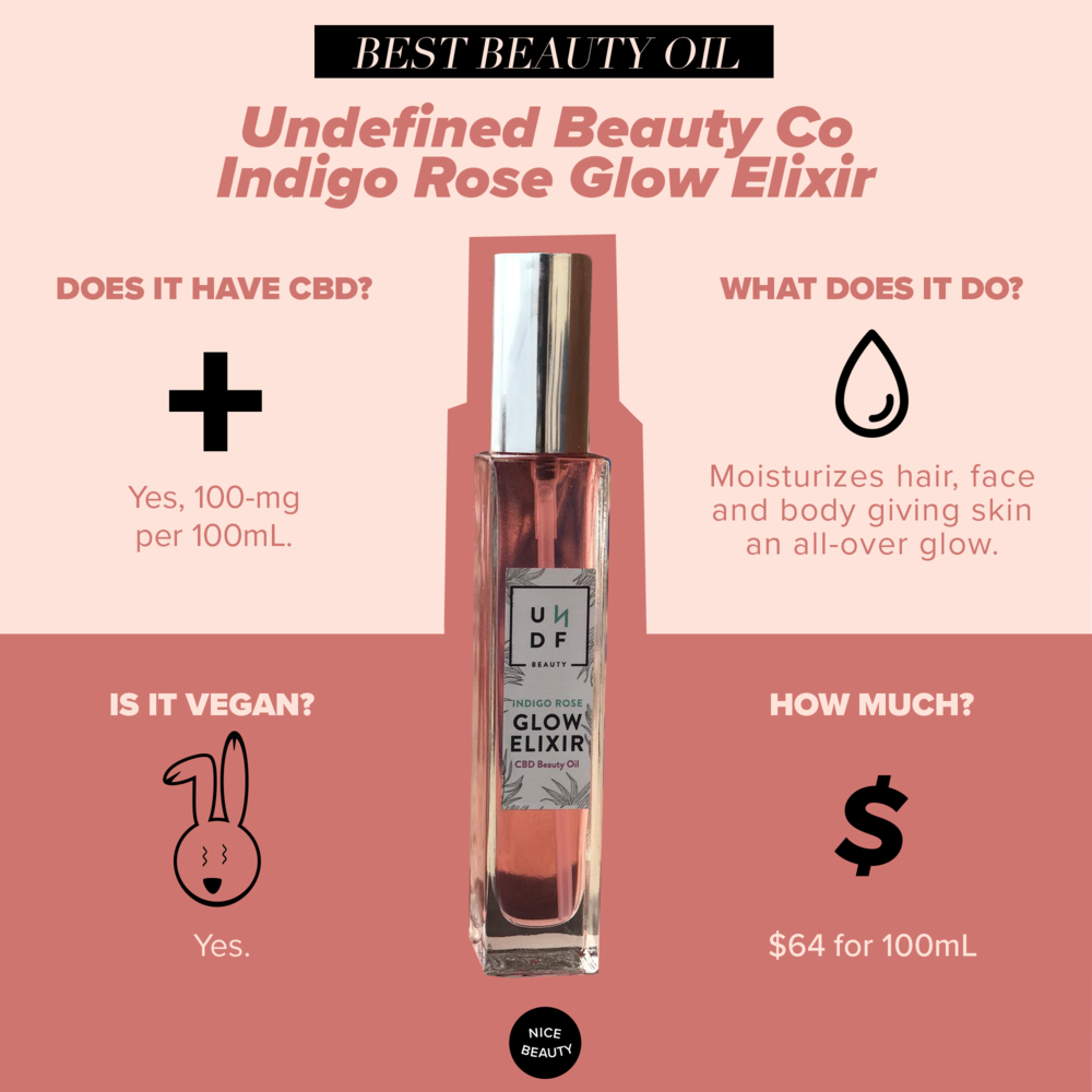 Undefined Beauty Co Indigo Rose Glow Elixir - Weightless and fast-absorbing, this recently launched fan favorite is a rose-scented and multitasking beauty oil. Infused with CBD, it can be applied to any part of your body (yes, that includes your hair) to instantly hydrate and give you a glow-up with 16 antioxidant-rich and anti-inflammatory powerhouses like Rosehip, Jojoba, Argan, Moringa and Camellia, coupled with the star ingredient, phytocannabinoid-rich hemp extract (CBD).