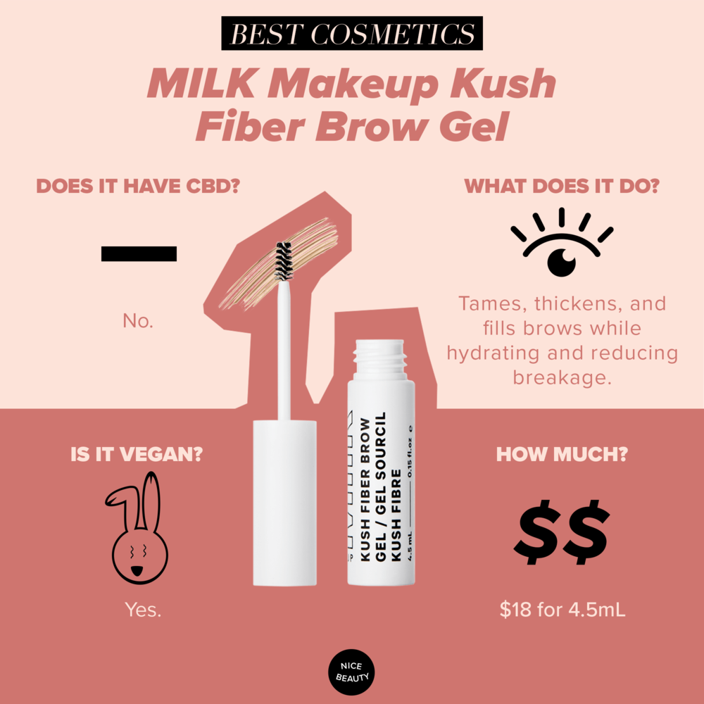 """MILK Makeup Kush Fiber Brow - We all love having cooperative brows: brows that listen to us, that do as we ask. Powders can go on uneven, some waxes and gels flake, others dry out your brow follicles, and some veer on Bert brows rather than """"bold"""" brows. Kush's brow wand helps keep your brows hydrated and in place with some people reporting that it helps them grow in thicker over time. In four shades, this gel is the only product you need to get luscious and well-behaved brows."""