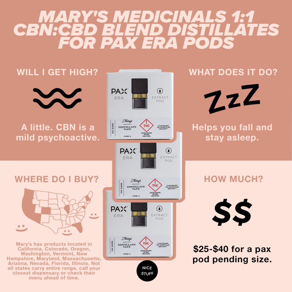 Mary's Medicinals 1:1 CBN:CBD Blend distillates for PAX Era Pods - Vaping, as we know, is a fast way to feel the effects of cannabinoids. A blend of CBD, a cannabinoid that dampens anxiety, and CBN, a sedative cannabinoid, this pax pod will help you chill out and have a blissful sleep.