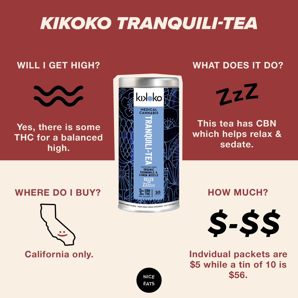 Kikoko Tranquili-Tea - We've written about this tea in the past, but felt it important to bring up again. With a 60 minute onset time, this tea is the real sleepy time tea. A blend of 5mg of CBN and 3mg of THC this will help you go to sleep and stay asleep with no groggy mornings.