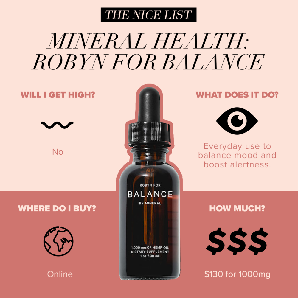 #5: Mineral Health: Robyn for Balance - Sitting in your online cart looking like some chic friend from Scandinavia, Robyn for Balance is formulated to be dense in cannabinoids that will keep your head out of the anxiety clouds. Concentrated in CBD and CBG along with uplifting terpenes to help you get your mood on track and increase alertness.