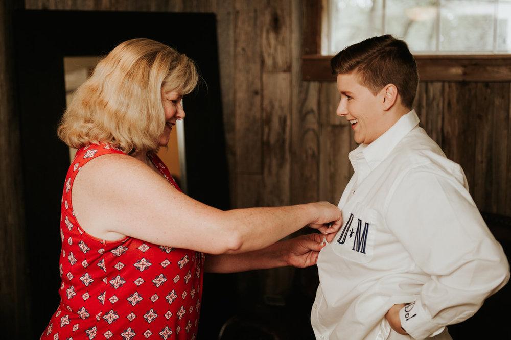 Same sex bride getting ready for Ranch Austin wedding