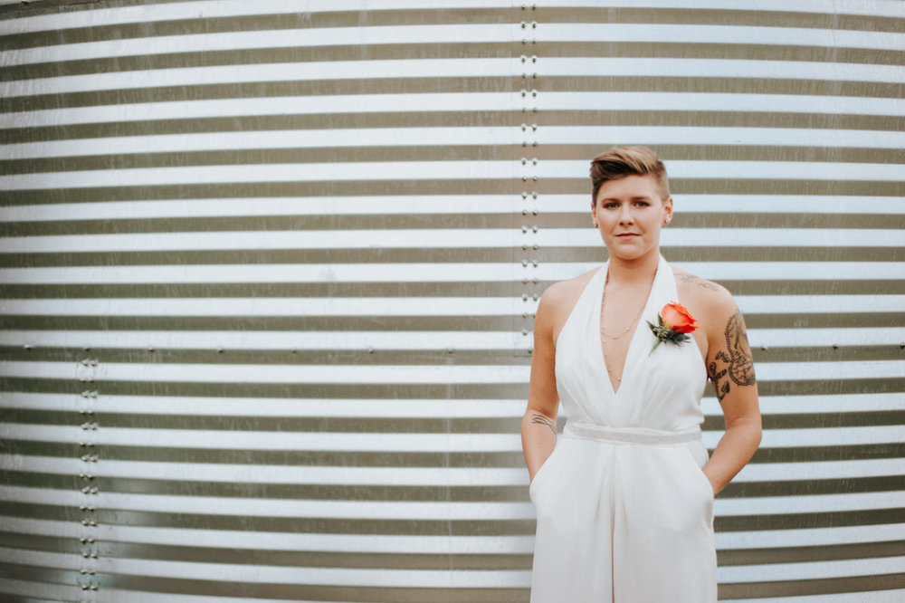 Bride in jumpsuit before Ranch Austin wedding