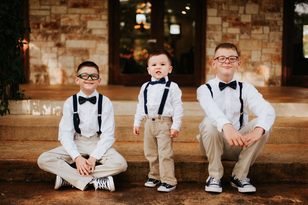 Cute little kids dressed up at Ranch Austin wedding