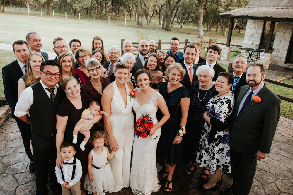 Brides with wedding party at Ranch Austin wedding