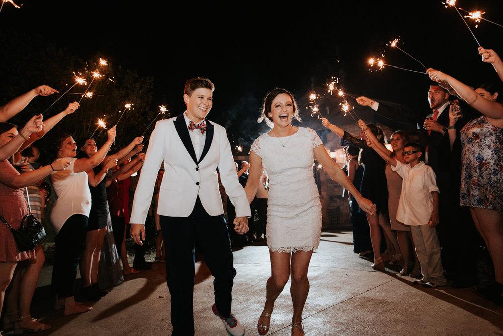 Texas brides sparkler exit at Ranch Austin wedding