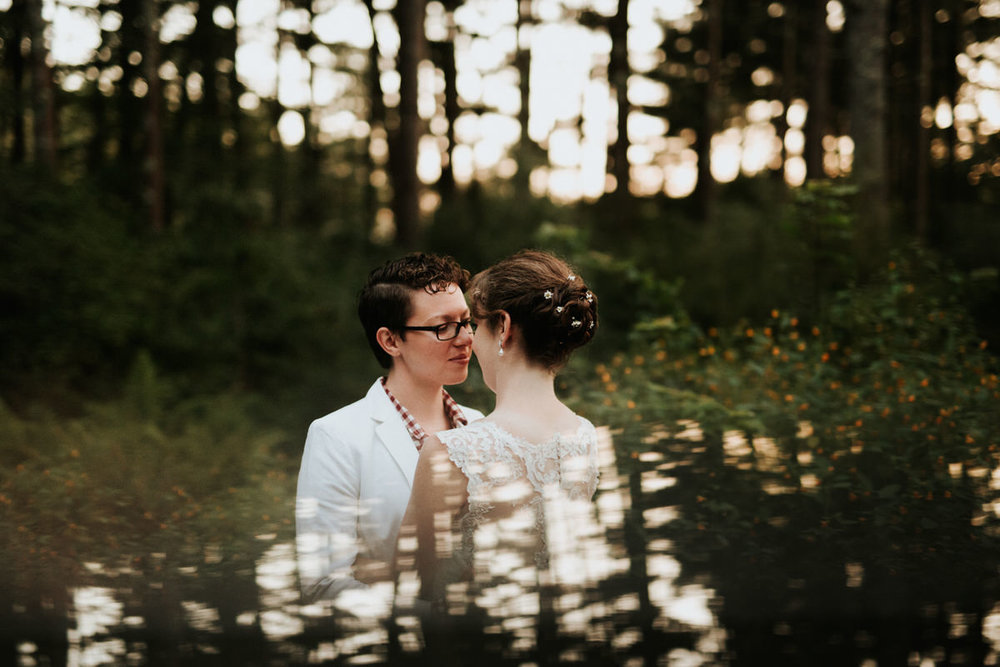 Brides at Cape Cod Wedding in the forest