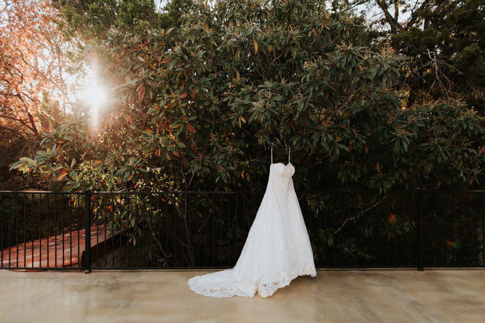 Wedding dress in sunlight