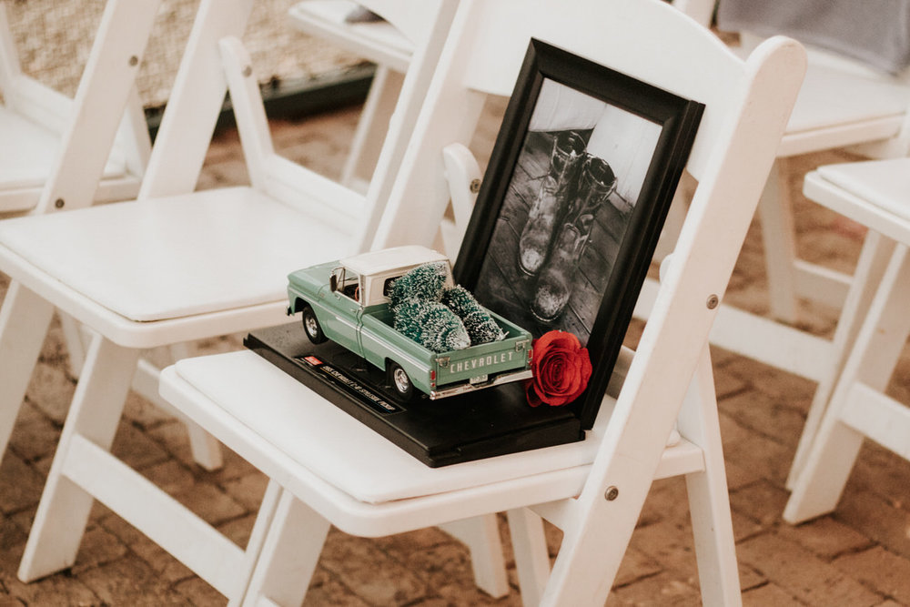 Memorial chair at wedding