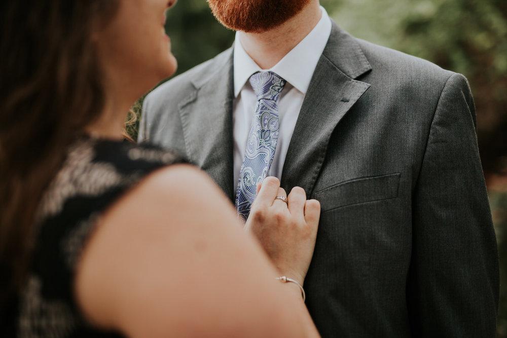 Couple getting engagement photos taken