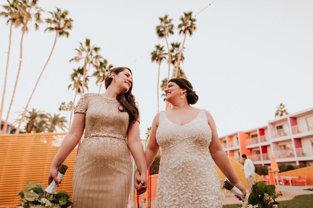 Same sex couple at their California wedding