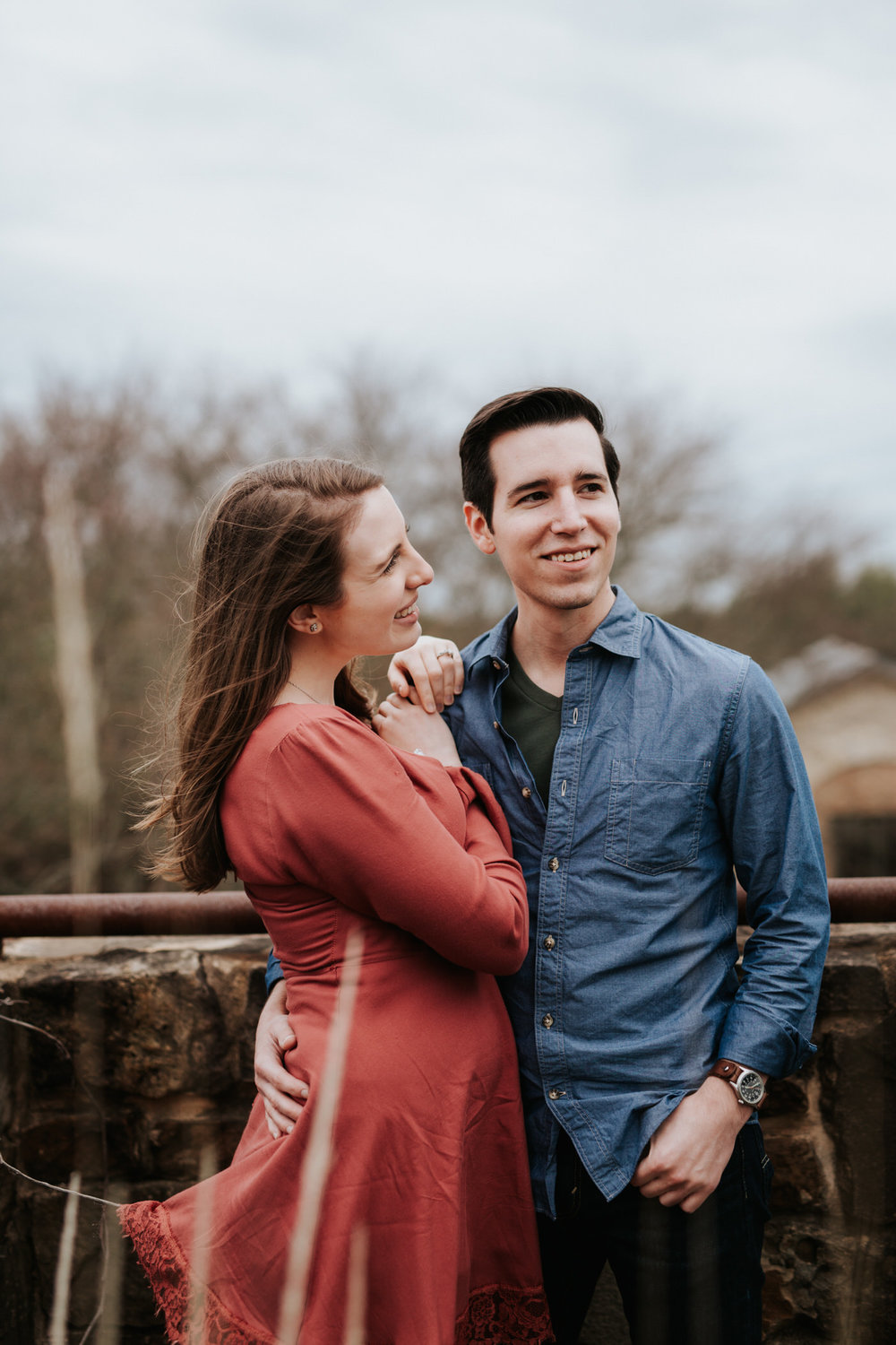 Engaged couple at Lady Bird Johnson Wildflower Center in Austin