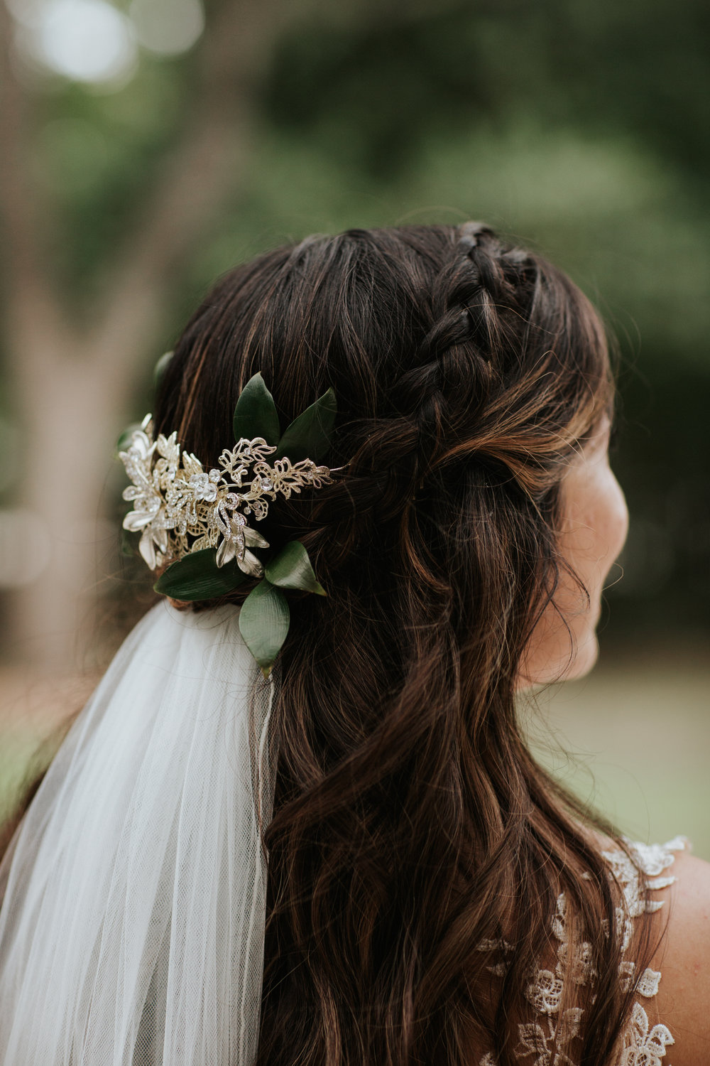 Bride's hair and makeup at her Austin, Texas wedding