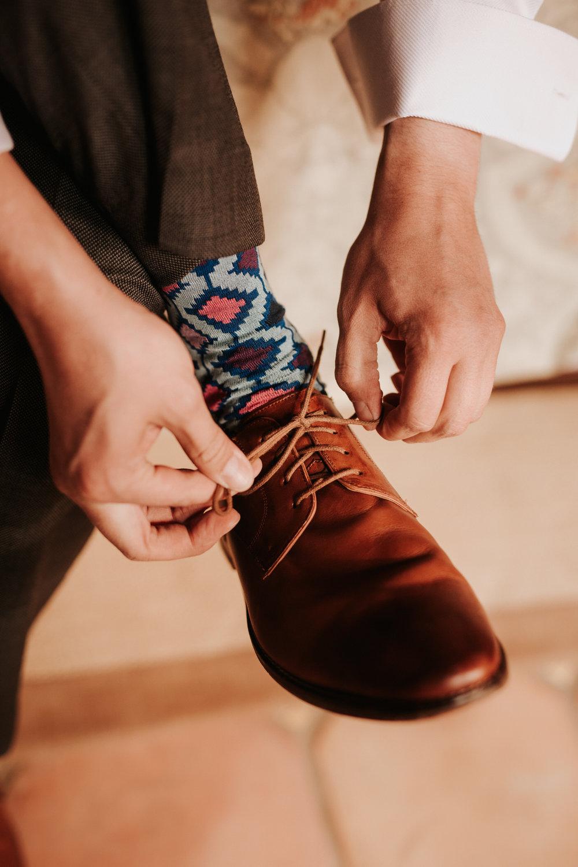 Groom's shoe at wedding