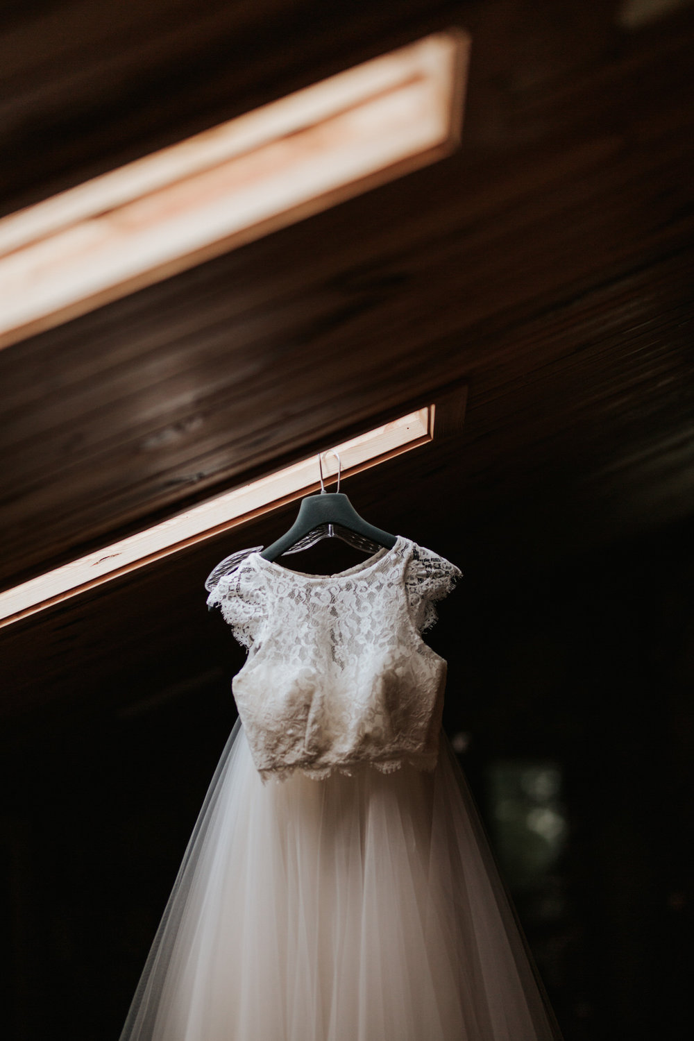 Two piece wedding dress hanging up