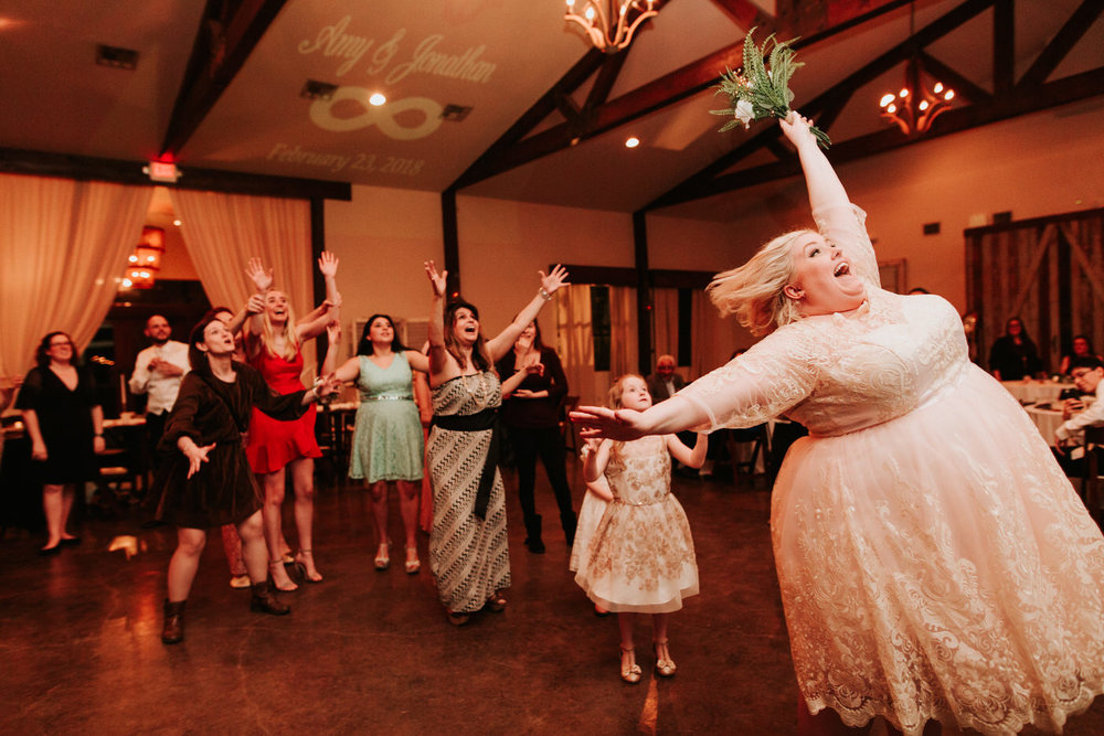 Bouquet toss at Austin wedding