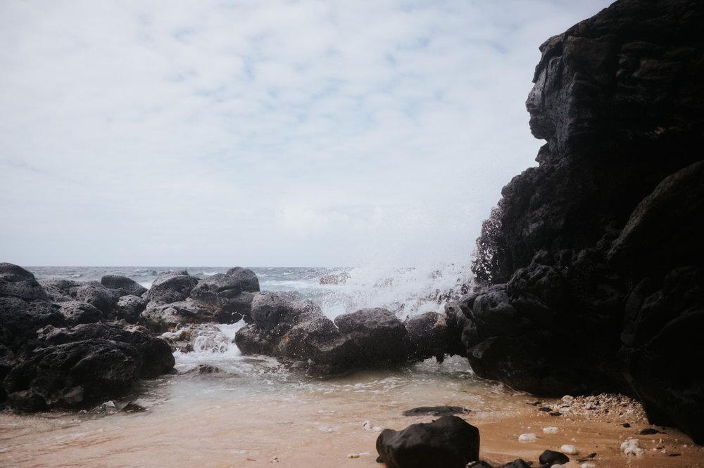 Hawaii ocean and volcanic rock
