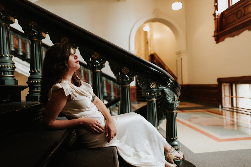 Moody and romantic bridal session at the Austin Capitol Building downtown
