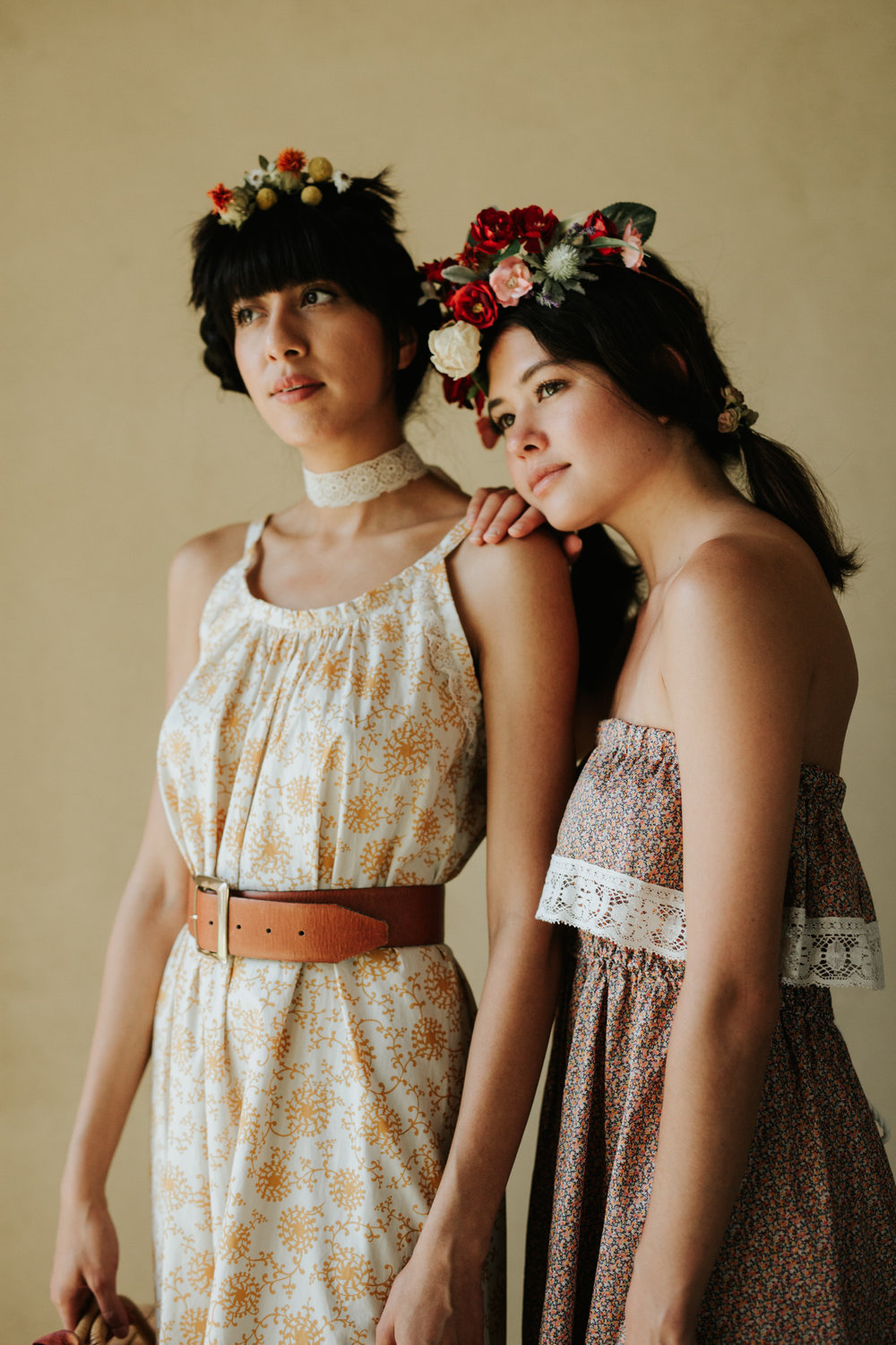 Women in Rat Des Champs lace vintage clothing and flower crowns
