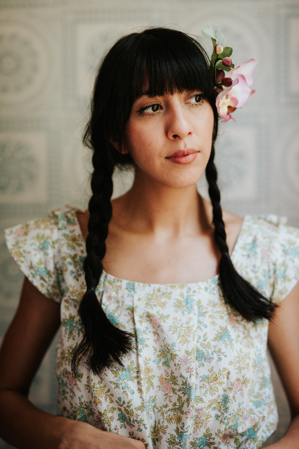 Woman in vintage flower sundress
