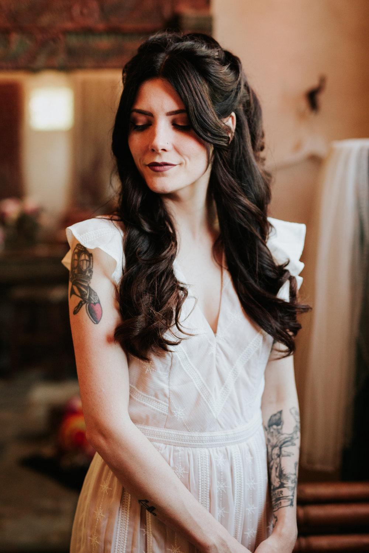 Tattooed bride before vow renewal wedding at Chapel Dulcinea