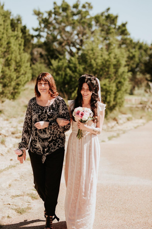 Bride walking down aisle at Chapel Dulcinea