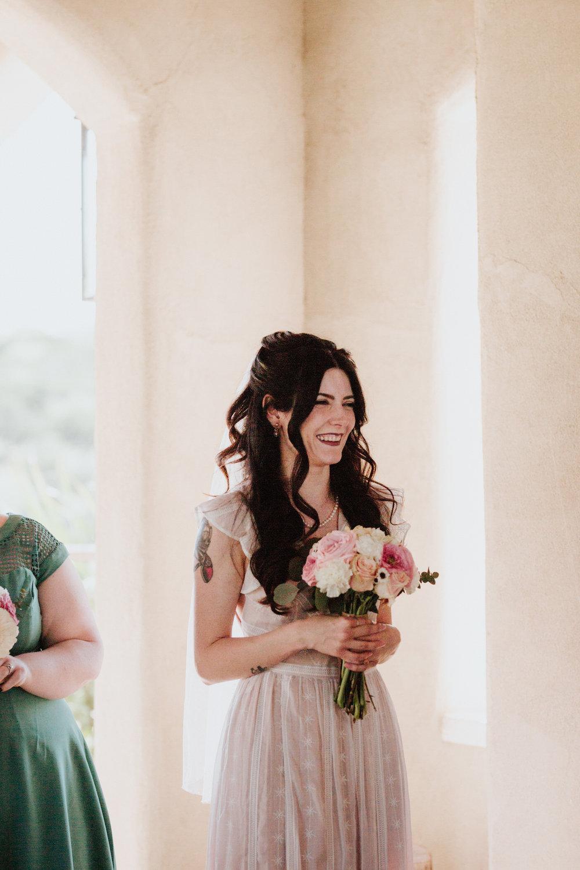 Bride with bouquet at Chapel Dulcinea