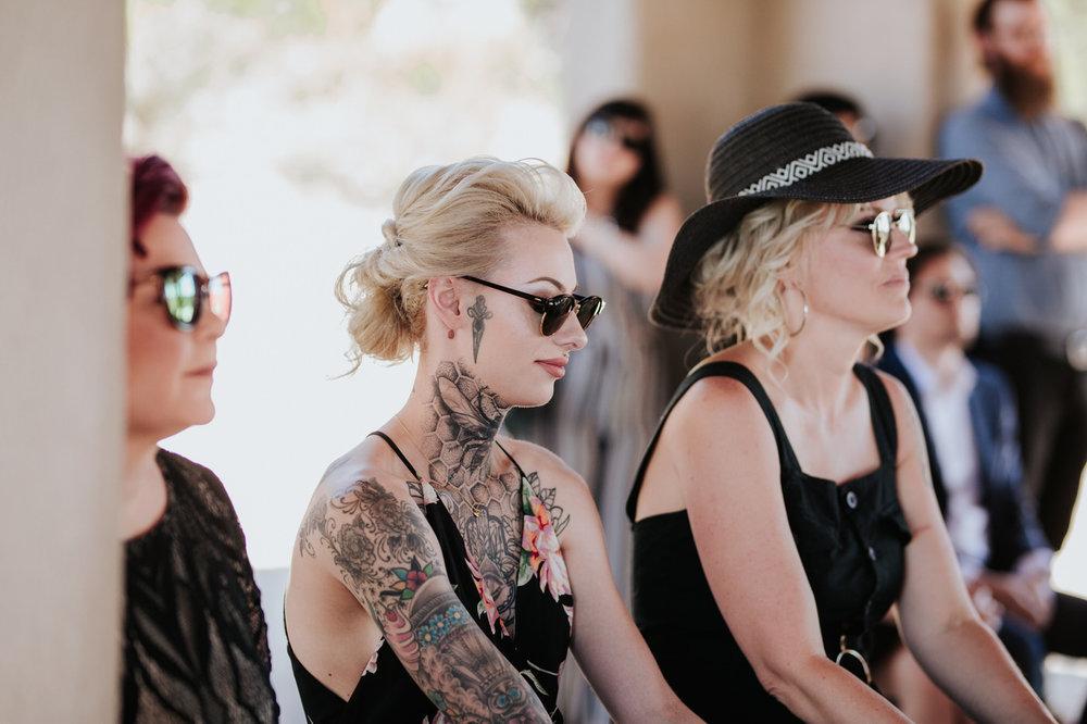 Tattooed guest at Chapel Dulcinea wedding
