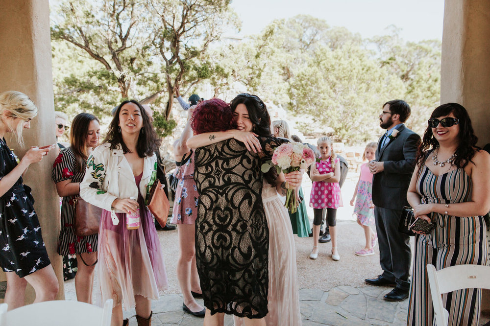 Bride and wedding guest at Chapel Dulcinea