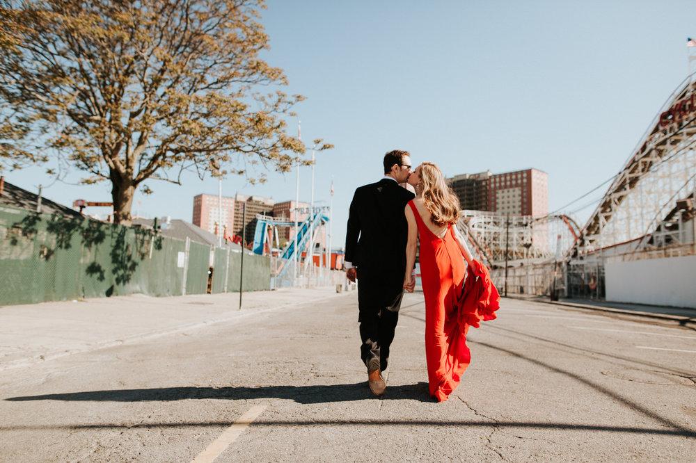 Elegant engaged couple at Coney Island
