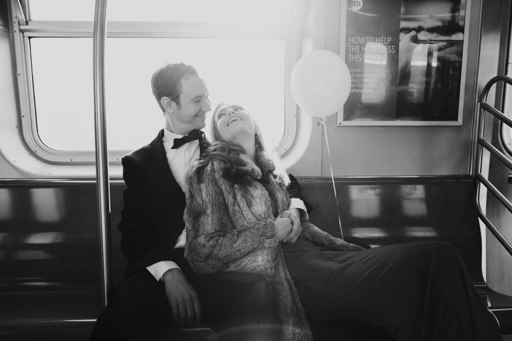 Chic New York City subway engagement session