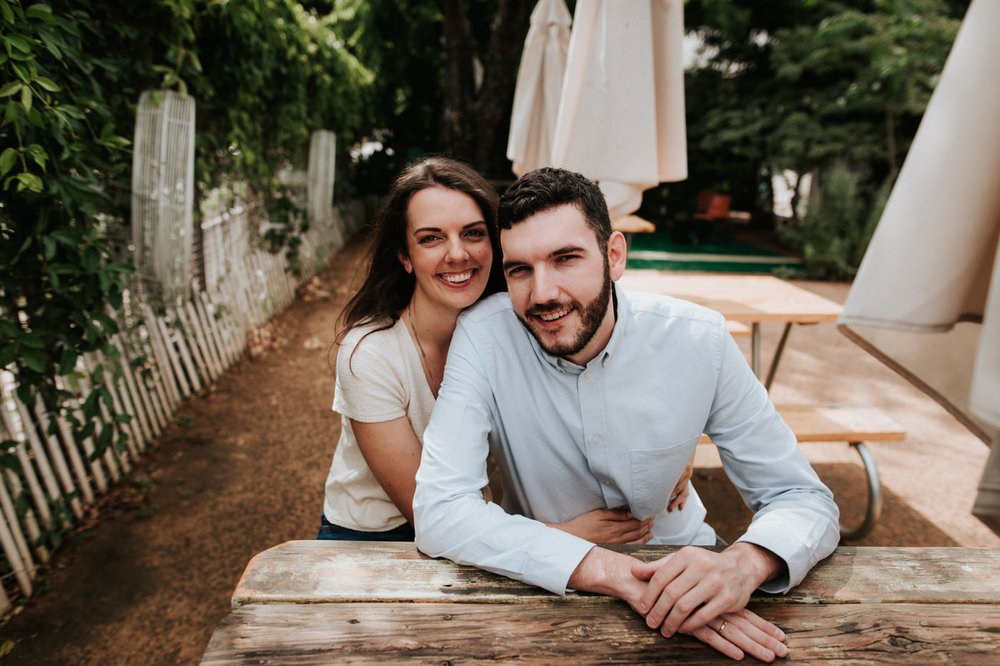 Engaged couple in East Austin