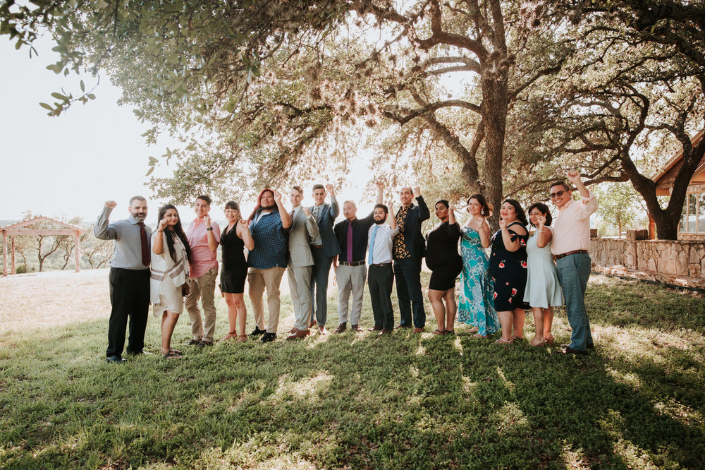 Wedding family portraits at River House at Pedernales
