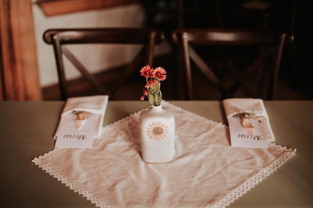 Table setting at River House at Pedernales