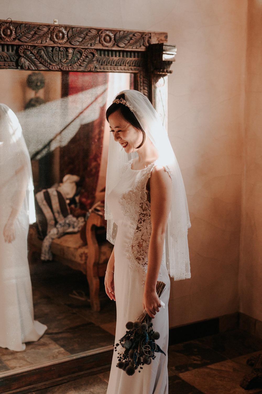 Bride getting ready for wedding at Chapel Dulcinea