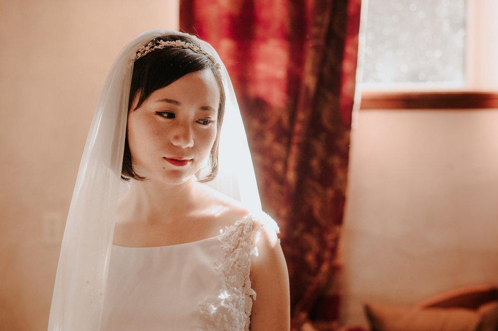 Bride in her flowy wedding dress at Chapel Dulcinea