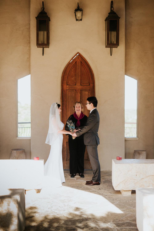 Bride and Groom at small Chapel Dulcinea wedding ceremony