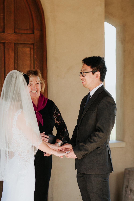 Bride and groom at Chapel Dulcinea wedding ceremony