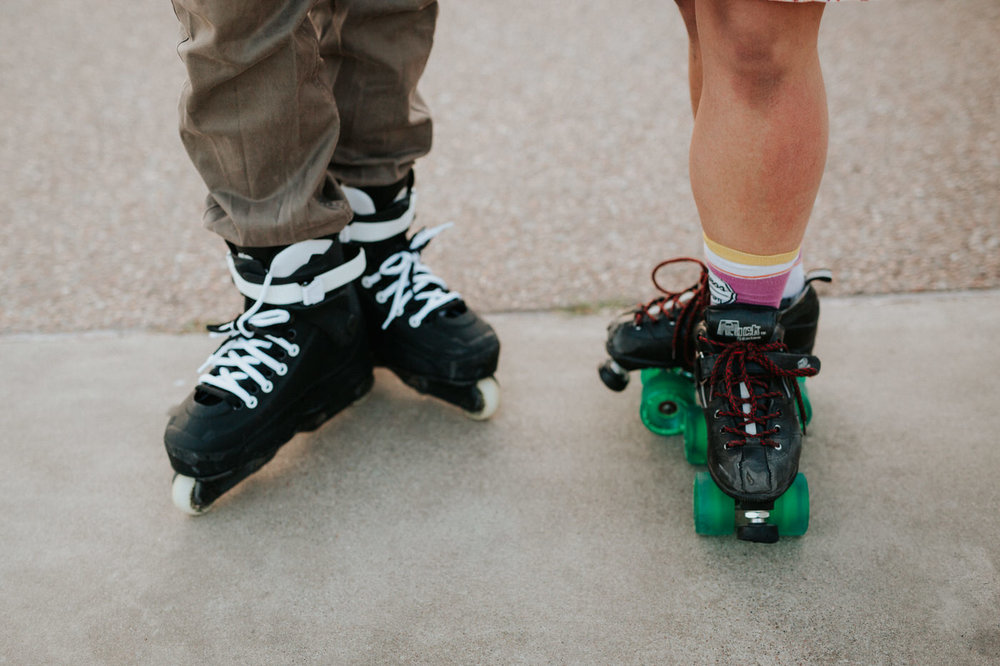 Roller skating couple at Mueller Lake Park