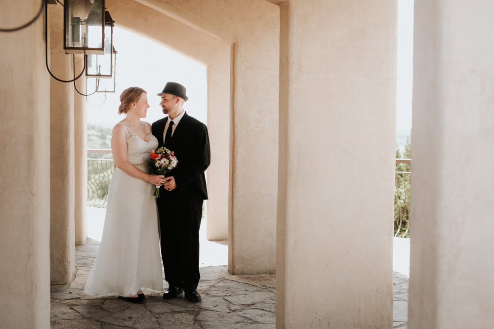 Bride and groom at Chapel Dulcinea wedding